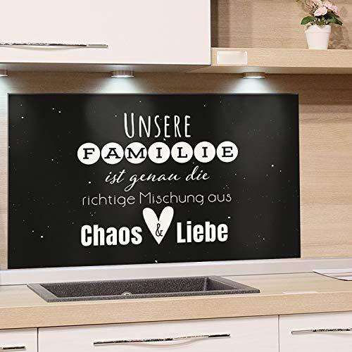 GRAZDesign Spritzschutz Küche Glas Familienspruch, Wandpaneele Küche Küchenspruch, Fliesenspiegel Küche Küchenmotiv, Küchenrückwand Glas Schwarz / 80x60cm