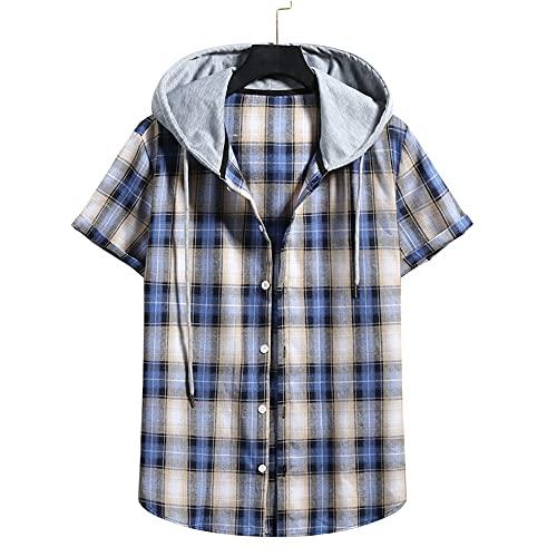 Capucha T-Shirt Hombre A Cuadros Verano Hombre Manga Corta Deportiva Informal Transpirable Hombre Camisas Ocio Vacaciones En La Playa Camisa Hawaii Camisa Hombre J-010 XXL