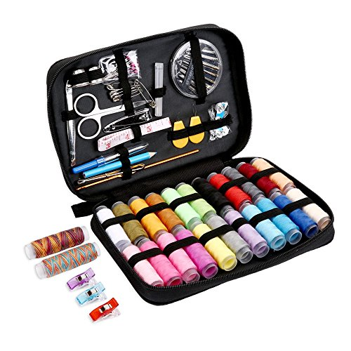 SEWING KIT,JKtown Over 100 Portable Basic Sewing Accessories, 24 Color Spools of Thread, Mini sew kits supplies for Beginners,Traveller,Emergency,Family starter to Mending and Repair (Black)