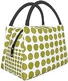 Fiambrera Bolsa de comida Bolsa de aislamiento portátil Paquete de cremallera multifuncional para oficina de trabajo escolar, Puntos Aguacate Puntos verdes Pintados Puntos grandes simples