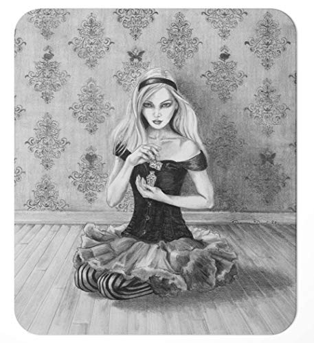 Alice in Wonderland Mousepad/Fairy Tale Mouse Pad/Deanna Davoli/Lewis Carroll/Drink Me / 7.75x9.25 inches