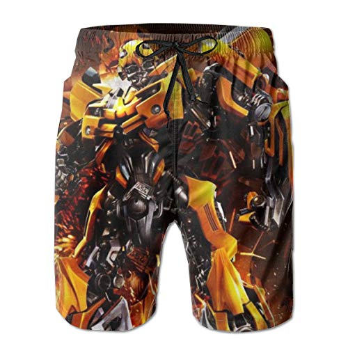 Bumblebee Transformers Mens Beach Board Swim Trunks Drawstring Lined Beach Pants Workout Shorts Print-XL White