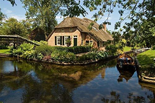 FAWFAW Wooden Jigsaw Puzzles, 1500 Piezas, Pequeñas Ciudades De Holanda, Cabaña con Techo De Paja, Puente
