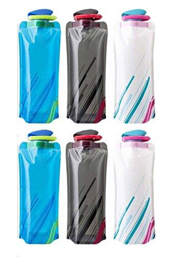 Saiway 700ML Faltbare Wasserflaschen Set von 6 Trinkflasche Flasche Beutel