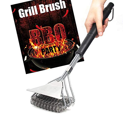 KKLU 1Pcs BBQ Grill Cleaning Brush Bristle Free and Scrape,Stainless Steel Tool
