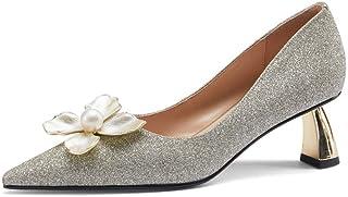AOOAR Dames glitter gevormde hiel pumps met bloemendecoratie.