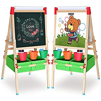 Ciro Art Easel for Kids Adjustable Wooden White Board & Chalkboard Double Side Magnetic Board with a Paper Roll for Boys and Girls