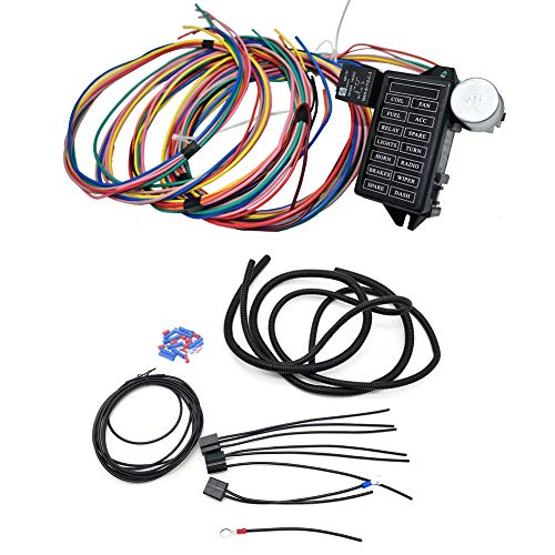 Cheriezing 14 Circuit Wiring Harness Extra long Wires 14 Fuse 12V for Chevy Mopar Ford Hotrod Universal