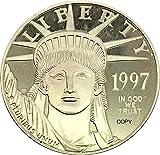 US $ 100 Moneda de Oro águila de Platino Estadounidense 1997 W Moneda de Copia chapada en Plata o Metal de latón