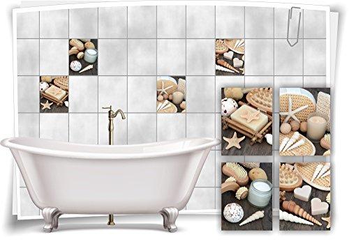 Medianlux Fliesenaufkleber Fliesenbild Muscheln Kerze Holz Wellness SPA Aufkleber Sticker Deko WC Bad, 15x20cm fp5p125h-71338