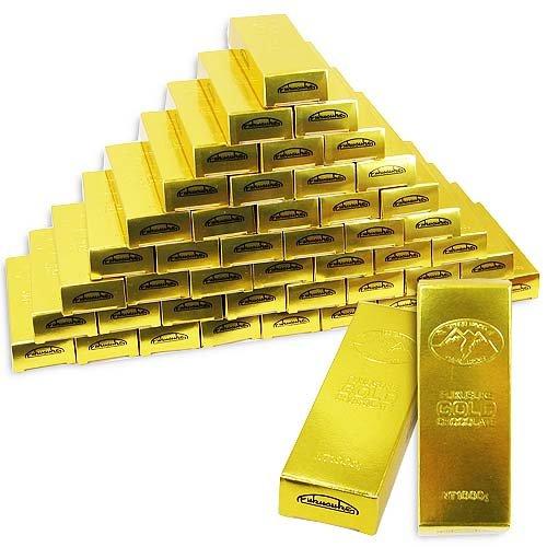お金持ちの気分!? 金の延べ棒 フクスケ ゴールドチョコレート 33個+当たり12個 【 チョコレート駄菓子のまとめ買い・業務用の駄菓子 】