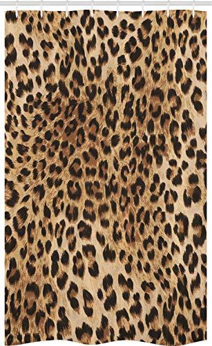 ABAKUHAUS Leopard-Druck Schmaler Duschvorhang, Wildtierhaut, Badezimmer Deko Set aus Stoff mit Haken, 120 x 180 cm, Schwarz Braun
