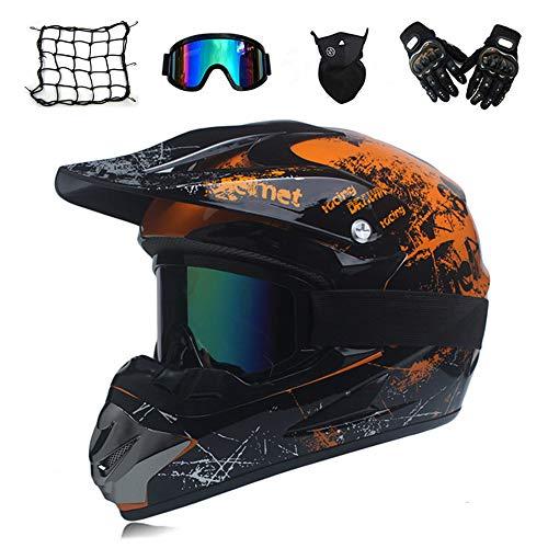 MRDEAR Motocross Helm Herren Orange und Schwarz, Motorrad Crosshelm mit Visier Brille Handschuhe Maske Motorrad Netz, Fullface MTB Helm Motorradhelm Mopedhelm für ATV Downhill Sicherheit Schutz,L