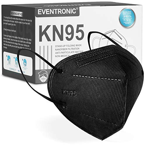 KN95 Face Mask, Eventronic Black Protective Masks Soft and Breathable, Five Layers of Protection, 50 PCS