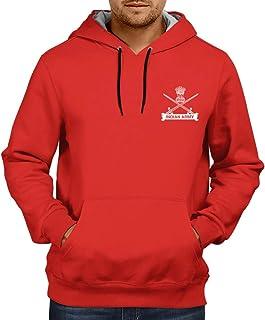 CUPIDSTORE Army Sweatshirts - 18 Indian Army Logo Red Blue Black Hoodies for Mens