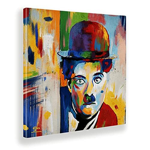 Giallobus - Cuadro ya Enmarcado - Impresion en Lienzo - Charlie Chaplin - Pinturas Modernas para decoración casa - Varios tamaños XXL - 50x50 cm