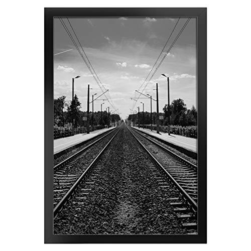 Onewall Bilderrahmen, 30 x 46 cm Fotorahmen aus gehärtetem Glas ohne Matte Holz Rahmen für Wand- und Tischdisplay 1 Stück Schwarz