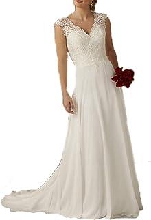 c6a3d034a9d JAEDEN Robes de mariée Robe de Mariage Dentelle Vêtements de mariée Femme  Longue V-Cou