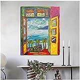 Pintor famoso abstracto Balcón Cuadros de paisaje Poster de arte de pared nórdico e impresiones Pintura de lienzo Decoracion del hogar para regalos de dormitorio 50x70 cm x1 Sin marco