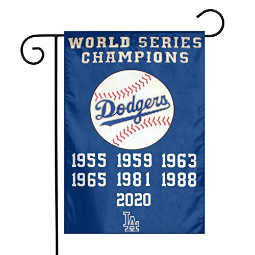 JIHUILAI Dodgers Champions Garden Flag- Polyester Embroidered 12X18 inch Dodgers Garden Flags- 18inch Garden Flag Pole Celebrating The Dodgers Winning The Championship Again After 32 Years