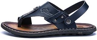 Casual shoes. Men's Sandals Casual Dual Purpose Clip Beach Sandals Slipper Cowhide Skid Large Size Slipper (Color : Khaki, Size : 47 EU)