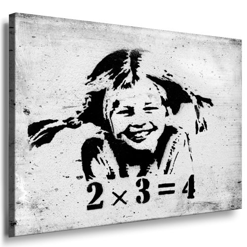 Fotoleinwand24 - Banksy Graffiti / AA0117 / Bild auf Keilrahmen/Schwarz-Weiß / 120x80 cm