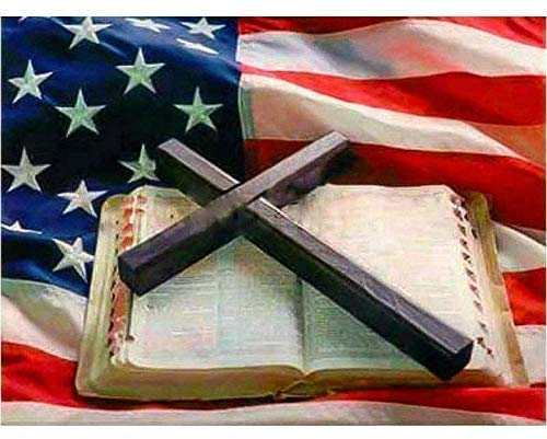 5d Diamond Painting Christian Cross Bible Full Square American Flag Diamond Mosaic Embroidery Crafts Embroidery Home Decor (30x40CM)