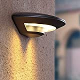 TWSXTE Black Outdoor Wall Light Mains Powered Day Warm White LED for Front Door Porch Aluminium External IP55 Weatherproof Outside Light 800LM 12W 3000K
