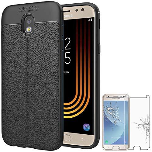 ebestStar - Funda Compatible con Samsung J3 2017 Galaxy SM-J330F Carcasa Silicona Gel, Protección Diseño Cuero Ultra Slim Case, Negro + Cristal Templado [Aparato: 143.2 x 70.3 x 7.9mm, 5.0'']