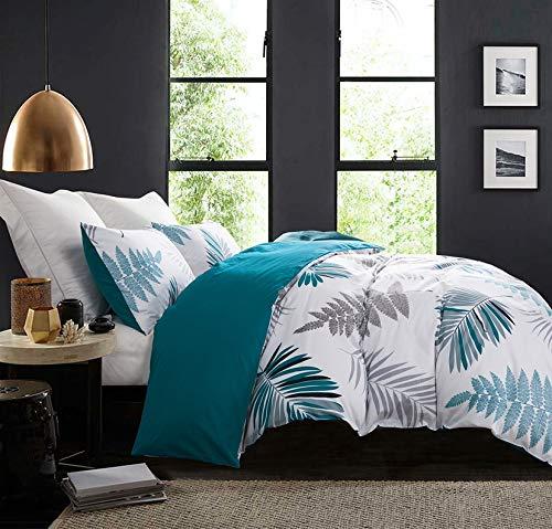 SLEEPBELLA Duvet Cover Set, 600 Thread Count Cotton Leaf Botanical Pattern Print Reversible Comforter Cover Set (Queen, Teal Blue-Leaf)