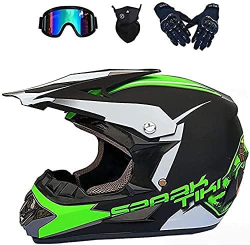 LPOM Casco de moto para hombre y mujer con gafas de protección, guantes (4 unidades), para bicicleta de montaña, casco de cross, casco para descenso, Enduro, Bike, BMX, Quad ATV (verde, M)