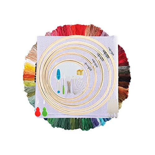 Stickerei-Set für Anfänger, 100 Farben, Fäden, 5 Bambus-Stickrahmen und 3 Aida-Stoff, Kreuzstich-Zubehör für Anfänger