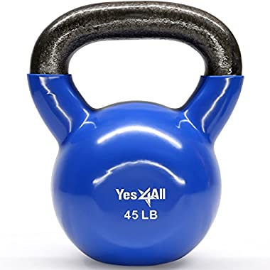 Yes4All Vinyl Coated Kettlebell Weights Set – Great for Full Body Workout and Strength Training – Vinyl Kettlebell 45 lbs