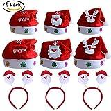 Kits Chapeaux Noël Bonnet de Père Mère Santa avec Serre-têtes pour Adulte / Enfant