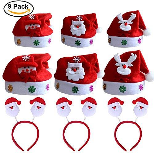 Lanteck Weihnachtsmütze, Weihnachtsstirnband, Verschiedene Modelle, Haar Band kuschelweich & angenehm zu tragen, Für Kinder & Erwachsene