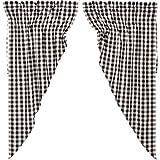 VHC Brands 40463 Classic Country Farmhouse Window Annie Buffalo Check White Lined Prairie Curtain Pair, Black