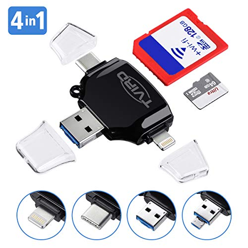 SD Card Reader, Tvird - 4 in 1 SD/TF Memory Card Reader USB 3.0, USB OTG Interface, Type-C, Lightning Connector, Micro SD Card Reader for iPhone/iPad/Android/MacBook/PC/Laptop, Trail Camera Viewer