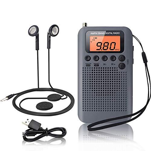 WFGZQ Mini Radio de Bolsillo FM Am Digital DSP Radio Personal, con Altavoz, Reloj Despertador y Temporizador, Radio de Mano para Ducha, Cocina con Auriculares, Soporte AAA batería reemplazable