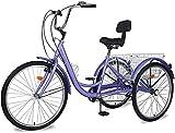 Adult Tricycle 7 Speed, Three Wheel Bikes for Seniors, Adults, Women, Men, 20/24/26-Inch Wheels, Cargo Basket, Multiple Colors (Purple, 26' Wheels/7 Speed)