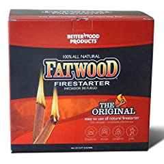 Safe, non-toxic, 100 percent all-natural firestarter made from the naturally occurring resin found in the stumps of pine trees Harvested from logging waste, no live nor endangered tree species are cut to produce our Fatwood Fatwood Firestarter sticks...