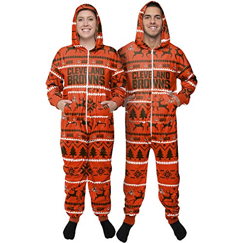FOCO Cleveland Browns NFL Winter Xmas Hooded One Piece Anzug - S