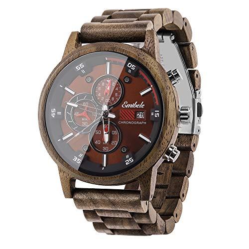 Emibele Reloj de Madera para Hombres, Reloj de Pulsera de Cuarzo cronógrafo con Pantalla de Fecha, 3 subesferas Hechas a Mano, Ligero y Luminoso Reloj - Nogal