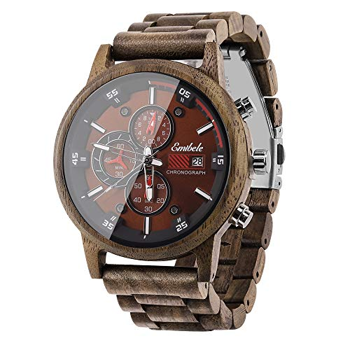 Emibele Wooden Watch for Men, Date Display Chronograph Quartz Wrist Watch, 3 Sub-dials Handmade...