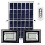 2 in 1 Solar Powered Flood Light Outdoor with Remote, Awanber AUTO Dusk to Dawn Motion Sensor Waterproof Dual LED Security Lights Fixture for Yard Street Flag Deck Pole Shed Barn Swimming Pool