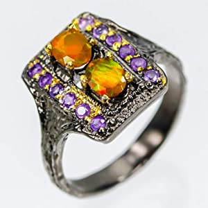 Handmade Jewelry Natural Orange Fire Opal Sterling Silver Ring