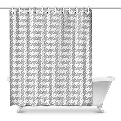 FANCYDAY Cortina de Ducha clásica de la decoración de la casa del patrón a Cuadros de Pata de Gallo en Blanco y Negro para el baño Cortina de Ducha Decorativa del baño