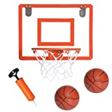 Play Platoon Mini Basketball Hoop for Door - 16 x 12 Inch Bedroom Basketball Hoop Indoors Set with 2 Basketballs and Pump