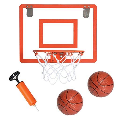 Play Platoon Over The Door Basketball Hoop - 16 x 12 Inch Basketball Hoop Indoor Set with 2 Basketballs and Accessories