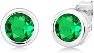 1.54 Ct Round 6mm Green Simulated Emerald 925 Sterling Silver Stud Earrings