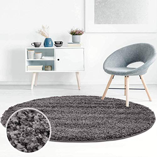 ayshaggy Shaggy Teppich Hochflor Langflor Einfarbig Uni Dunkelgrau Weich Flauschig Wohnzimmer, Größe: 120 x 120 cm Rund